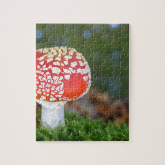 One fly agaric with green moss in fall season jigsaw puzzle
