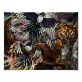 One for Sorrow Magpie and Fox Digital Illustration Poster