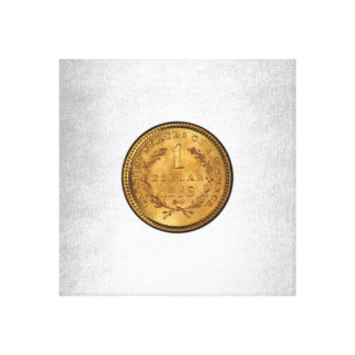 One Golden Dollar 1853 Coin Silver Background Canvas Print