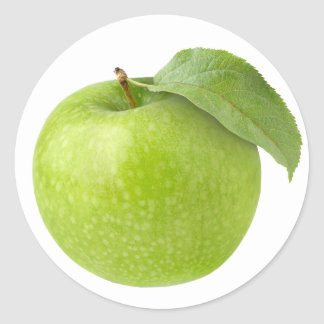 One green apple classic round sticker