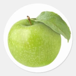 One green apple round sticker