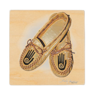 One Hand Moccasin Maple Wood Coaster