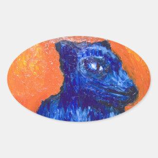 One-headed Cerberus (animal symbolism ) Oval Stickers