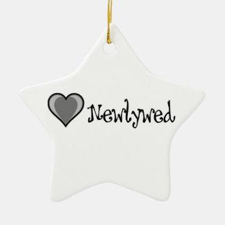 One Heart - Newlywed - Black & White Ceramic Star Decoration