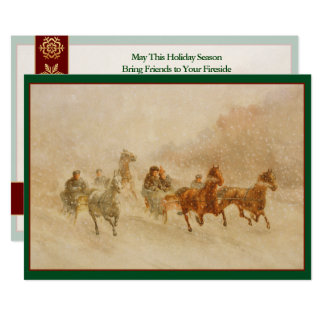 One Horse Open Sleigh Race Vintage Customized Card