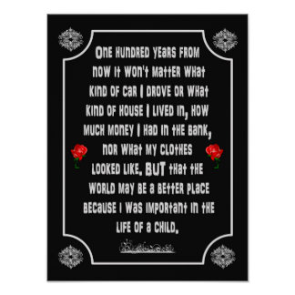 One Hundred Years From Now Poem -- art print