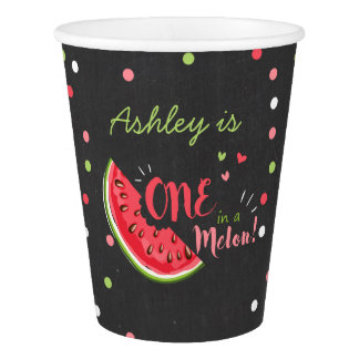 One in a melon birthday Paper Cup Watermelon chalk