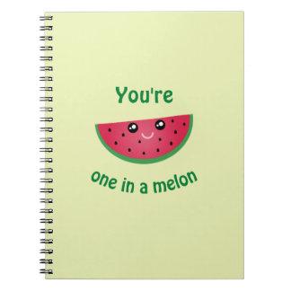 One In A Melon Funny Cute Kawaii Watermelon Notebooks