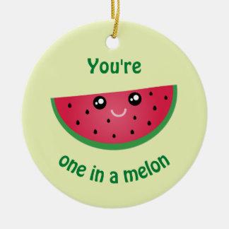 One In A Melon Funny Kawaii Watermelon Christmas Ceramic Ornament