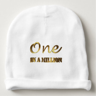 One in a million Elegant Gold Brown Typography Baby Beanie