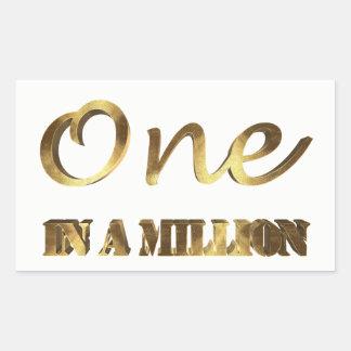 One in a million Elegant Gold Brown Typography Rectangular Sticker
