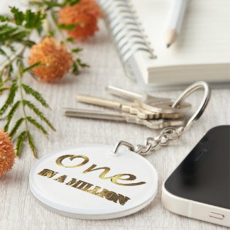 One in a million Elegant Gold Brown Typography Single-Sided Round Acrylic Key Ring