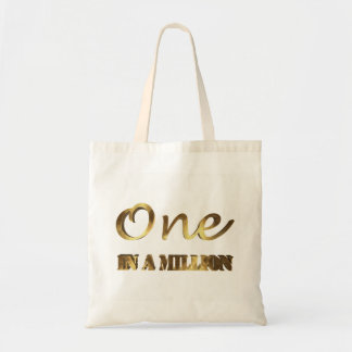 One in a million Elegant Gold Brown Typography Tote Bag