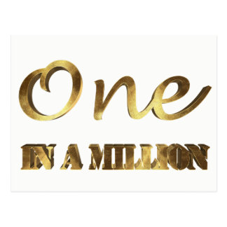 One in a million Elegant Gold Typography Postcard