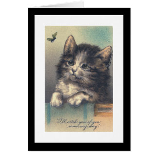 """""""One Kitten and a Fly"""" Vintage Greeting Card"""