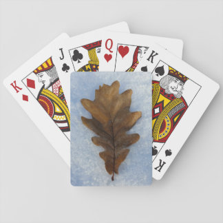 one leaf on snow playing cards