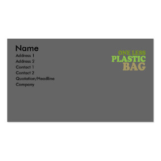 One less plastic bag T-shirt / Earth Day T-shirt Double-Sided Standard Business Cards (Pack Of 100)
