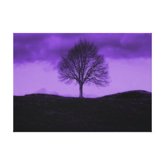 One Lone Tree Pop Art Purple Landscape Canvas Canvas Print