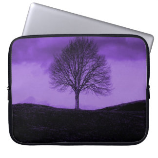 One Lone Tree Silhouette Purple Nature Landscape Laptop Sleeves
