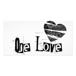 One Love Heart Black Picture Card