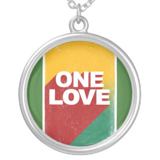One love rasta silver plated necklace