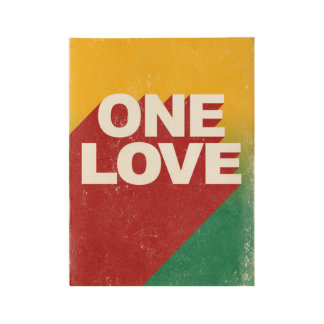One love rasta wood poster