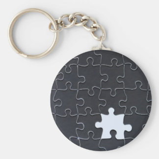 One Missing Puzzle Piece black and white Basic Round Button Key Ring
