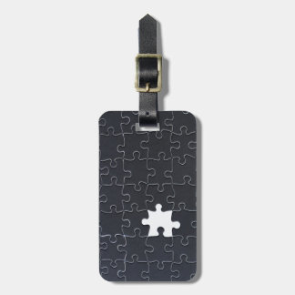 One Missing Puzzle Piece black and white Luggage Tag