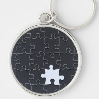 One Missing Puzzle Piece black and white Silver-Colored Round Key Ring