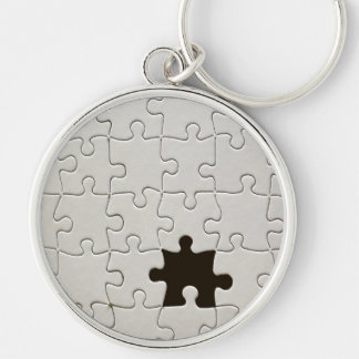One Missing Puzzle Piece Silver-Colored Round Key Ring