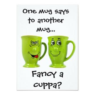 "One mug says to another mug... invite 5"" x 7"" invitation card"