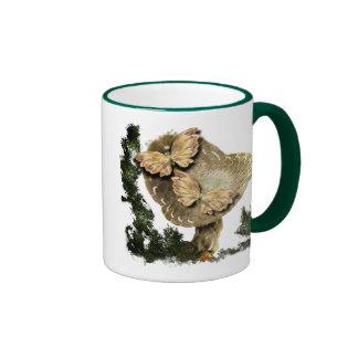 One Mushroom And Two Butterflies Ringer Mug