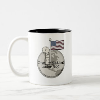 One Nation Under God-Little Boy at US Flag Two-Tone Coffee Mug
