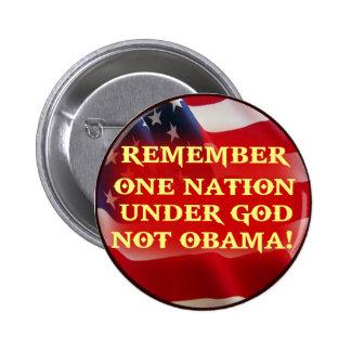 ONE NATION UNDER GOD NOT OBAMA PINBACK BUTTONS