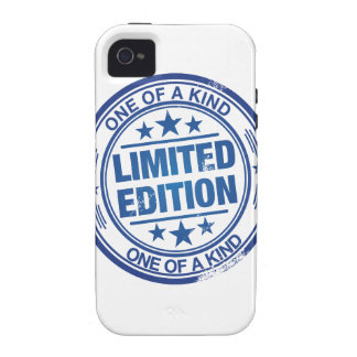 One of a kind -blue rubber stamp effect- iPhone 4/4S case