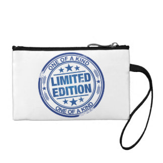 One of a kind -blue rubber stamp effect- coin wallet