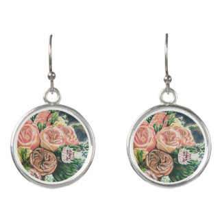 One of a Kind Floral Bouquet Earrings