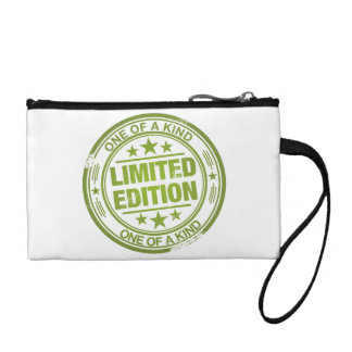 One of a kind -green rubber stamp effect- coin wallets