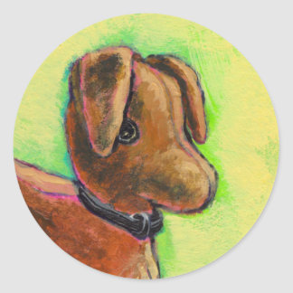 One of a Kind handmade stuffed toy dog painting Classic Round Sticker