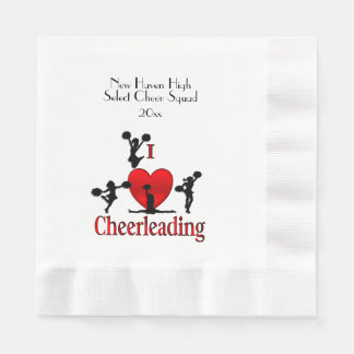 One of a Kind I Heart Cheer Leading Personalized Paper Napkins