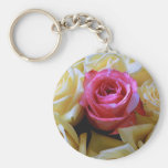 One of a Kind Love, Unique Beauty Pink Yellow Rose Keychains