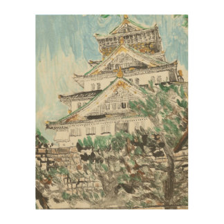 One of a Kind Osaka Castle Monotype Print