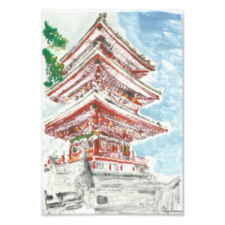 One of a Kind Shintennouji Temple Monotype Print
