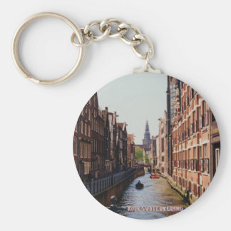 One of the many canals in Amsterdam, Netherlands Key Ring