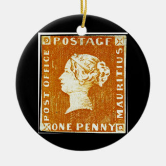 One Penny British Empire Mauritius Postage Stamp Double-Sided Ceramic Round Christmas Ornament