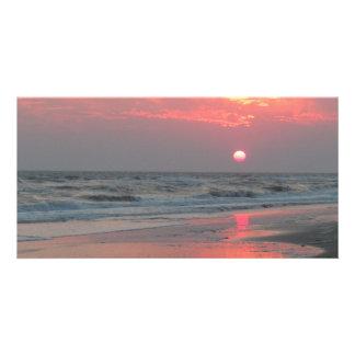 One Perfect Sunset - Oak Island, NC Personalised Photo Card