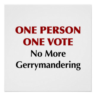 One Person One Vote, No More Gerrymandering Poster
