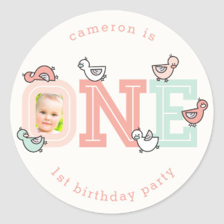 ONE Pink Baby Ducklings 1st Birthday Party Sticker