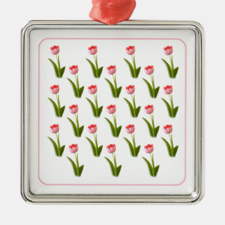 One Pink Tulip - Wallpaper Pattern Silver-Colored Square Decoration
