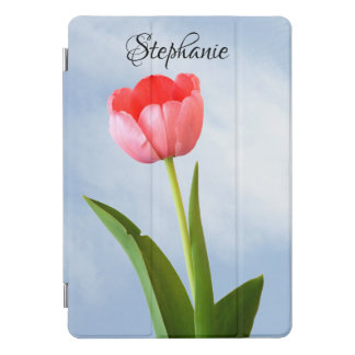 One Pink Tulip with Blue Sky Floral Photography iPad Pro Cover